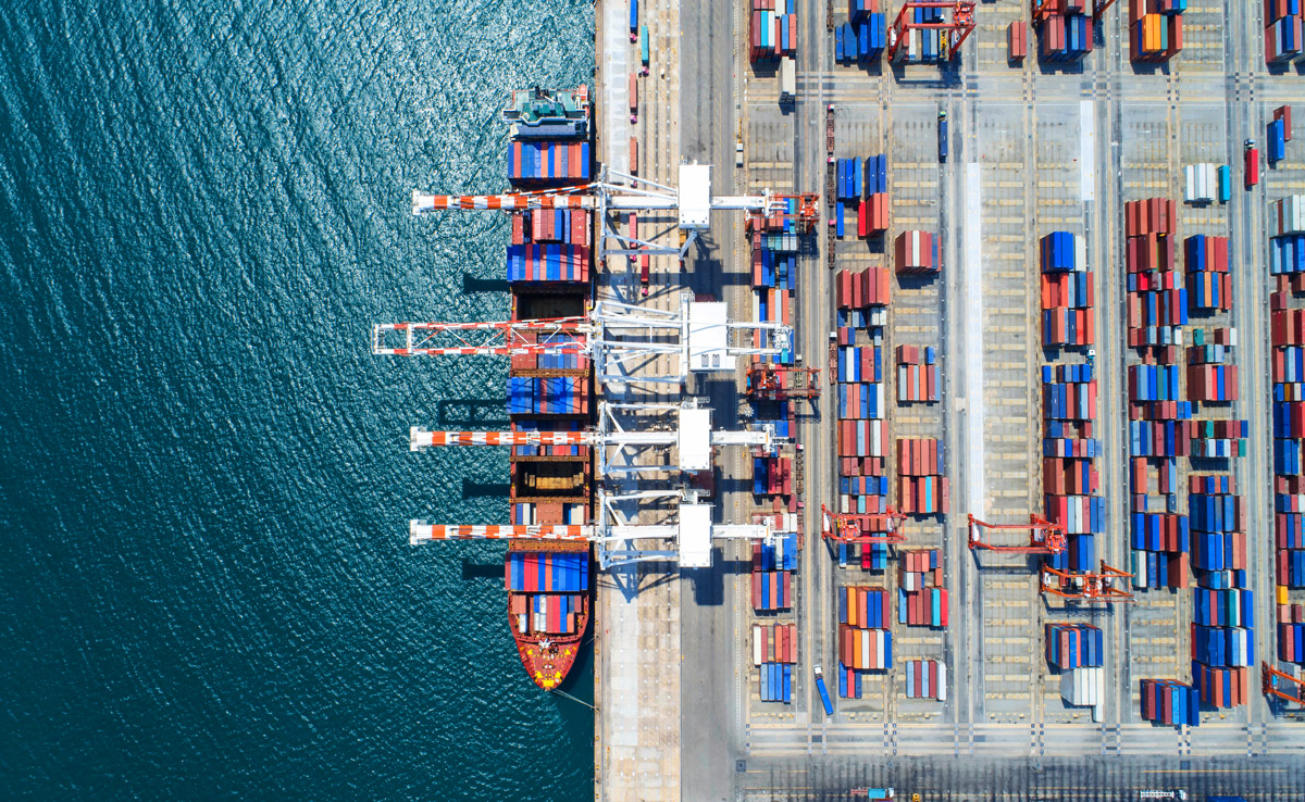 Photo of a shipping dock with containers